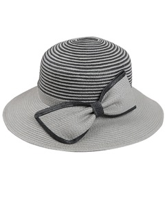 New Arrival Gray Stripe Bowont Women Sun Hat