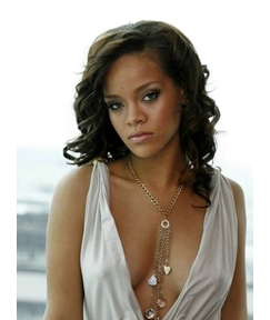Elegant Rihanna Long Wavy Lace Front Synthetic Hair Wig 18 Inches