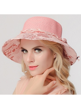 Elegant Round Top Flower Brim Sun Hat