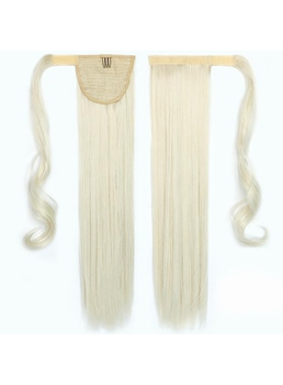 Beautiful Long Straight Milk White Synthetic Ponytail