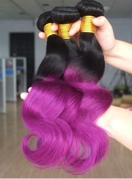 Ombre Brazilian 1B/Purple Human Hair Body Wave Weft 1 PC