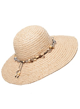 Elegant Bead Chain Decorative Straw Women's Hat