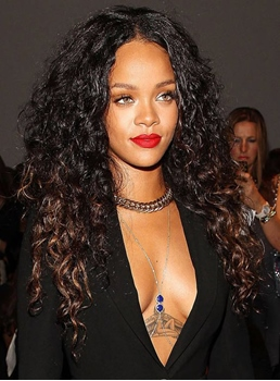 Attractive Rihanna Long Curly Lace Front Synthetic Hair Wig 24 Inches