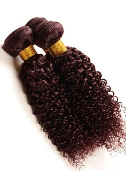 Brazilian Virgin Hair Jerry Curly 99J Human Hair Weave 12 Inches 1PC