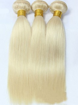 6A Grade High Quality Brazilian Straight Light Blonde Human Hair Weave