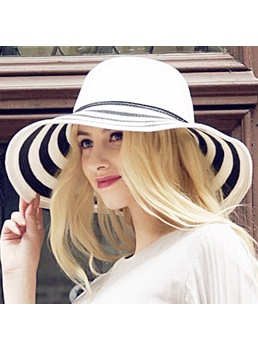 Black and White Stripes Women's Sunhat