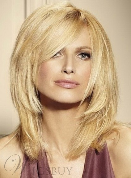 Layered Medium Straight Wigs Synthetic Hair Capless 11660477