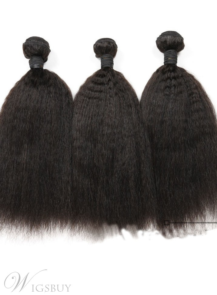 6a Grade High Quality Kinky Straight Natural Color Human Hair Weave