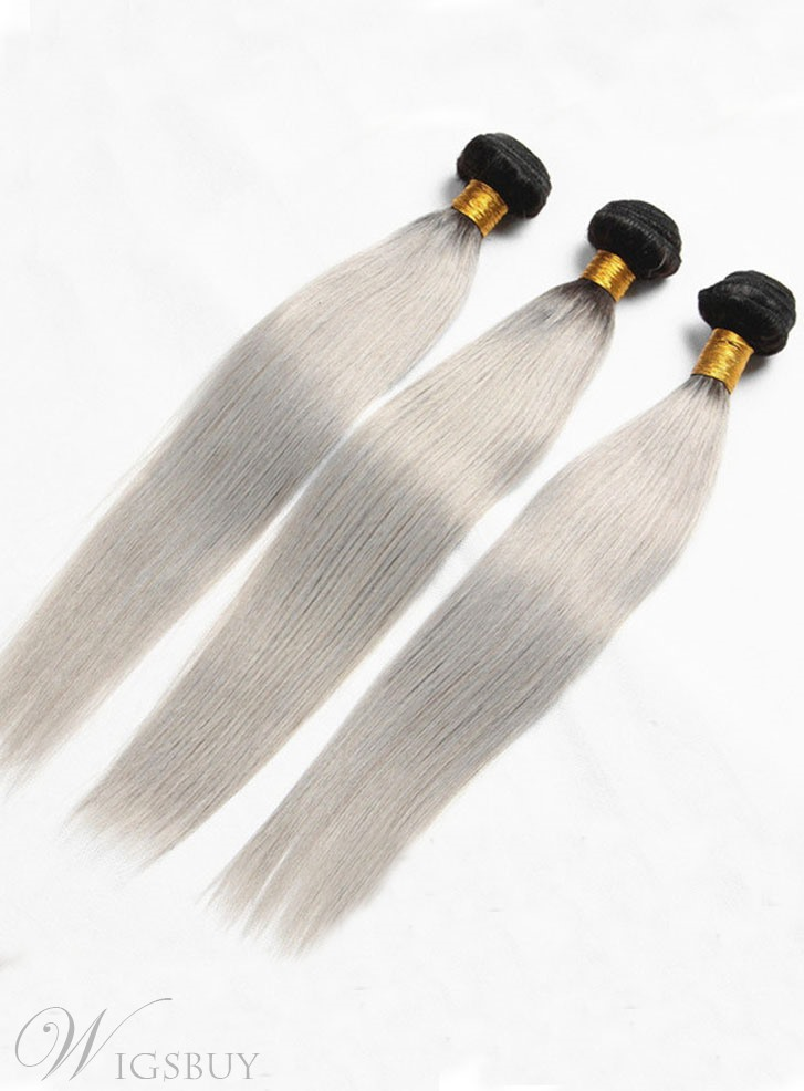 6A High Quality 1b/grey Straight Human Hair Weave 1 PC
