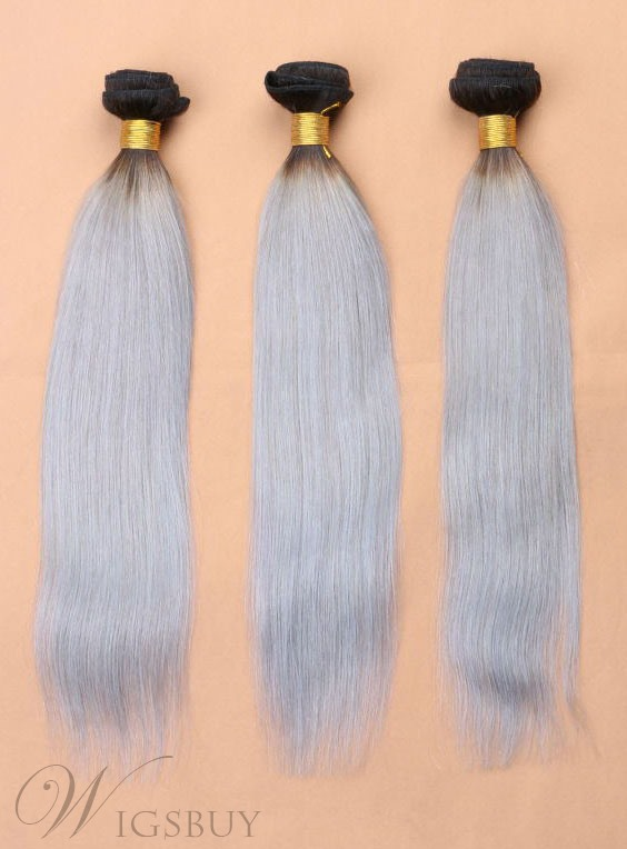 1B/Grey Human Hair Straight Weft 1 PC 12 Inches