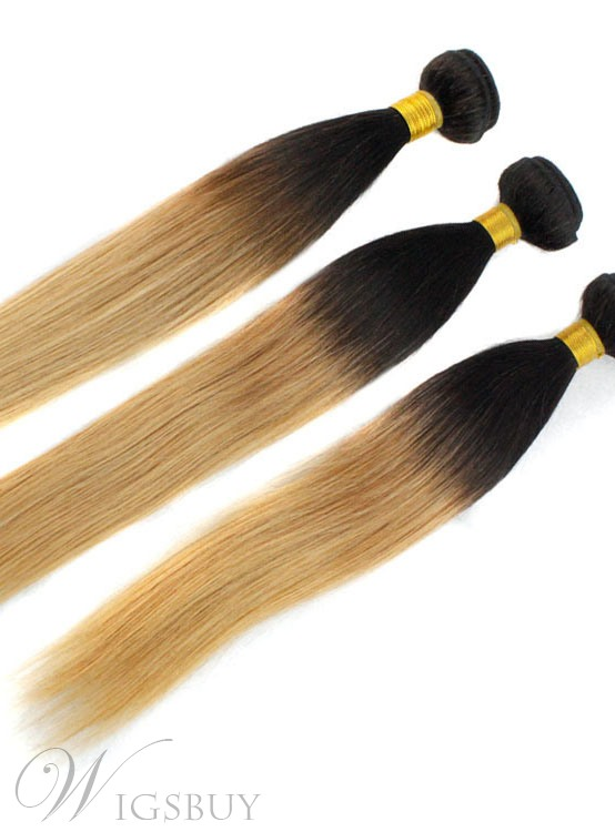 1B/27 Ombre Straight Human Hair Weave 1 PC