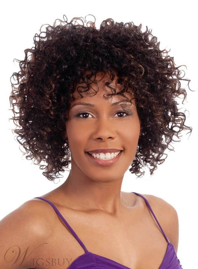 African Medium Curly Capless Synthetic Hair Wig 12 Inches 11665729