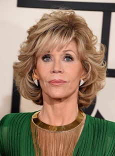Fashion Jane Fonda Style Medium Loose Wave Layered Synthetic Hair Capless Wig 12 Inches