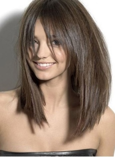 Attractive Medium Straight Capless Synthetic Hair Wigs 16 Inches