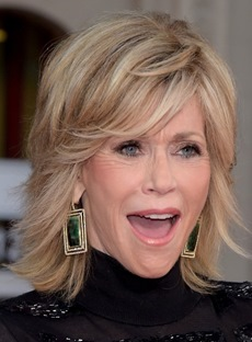Jane Fonda Fluffy Medium Wavy Human Hair Capless Wigs 12 Inches