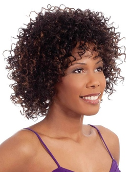 African Medium Curly Capless Synthetic Hair Wig 12 Inches