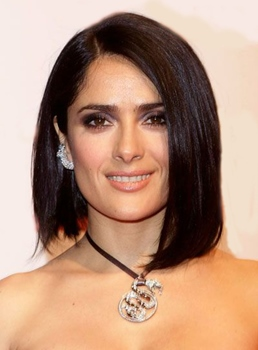 Salma Hayek Medium Straight Lob Lace Front Synthetic Hair Wigs 14 Inches