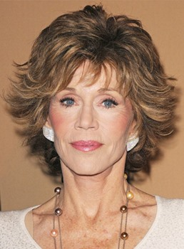 Jane Fonda Style Short Wavy Layered 8 Inches 100% Human Hair Capless Wig