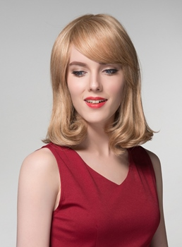 Mishair® Brown with Blonde Long Bob Human Hair Capless Wigs 14 Inches