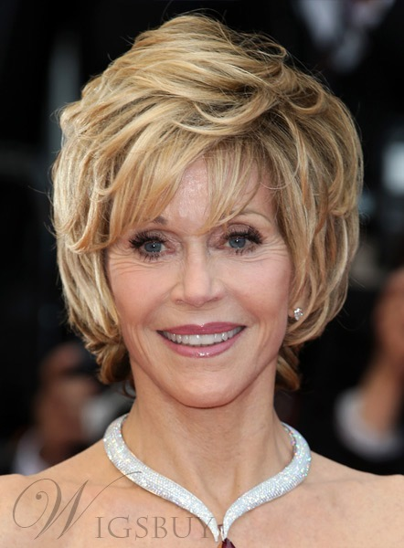 Fashion Jane Fonda Straight Short Layered Synthetic Hair Capless Wig 8 Inches 11666806