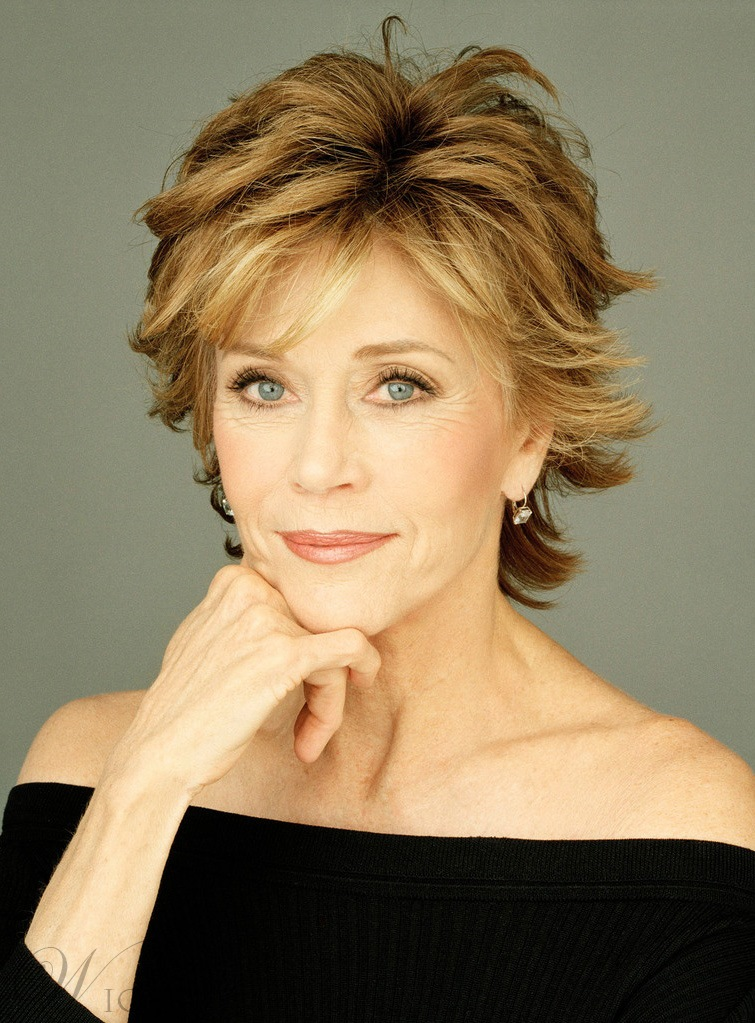 Elegant Jane Fonda Short Straight Layered Synthetic Hair Capless Wig 8 Inches 11664512