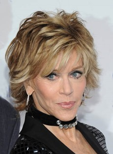 Hot Jane Fonda Short Straight Layered Synthetic Hair Capless Wig 8 Inches
