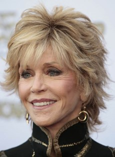 Jane Fonda Short Natrual Straight Layered Synthetic Hair Capless Wigs 8 Inches