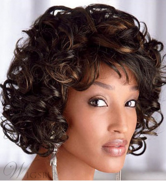 Charming Medium Curly Capless Synthetic Hair Wig 12 Inches