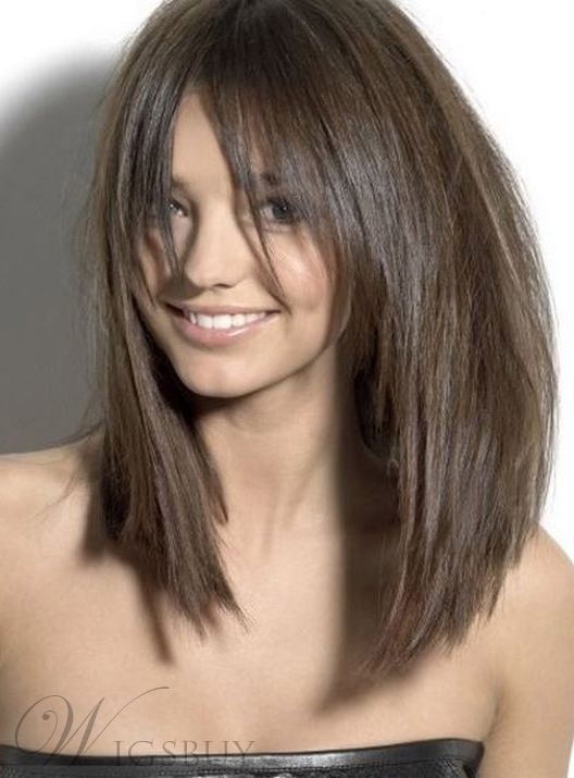 Blunt Cut Medium Straight Capless Synthetic Hair Wigs 16 Inches