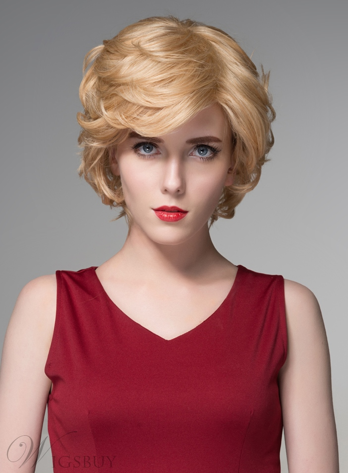 Mishair? Layered Medium Wavy Capless Human Hair Wig 8 Inches 11675819