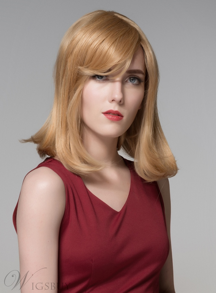 Mishair? Charming Medium Straight Capless Human Hair Wig 16 Inches 11676095