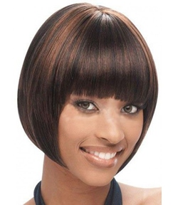 Full Bang Short Bob Capless Synthetic Hair Wigs 10 Inches