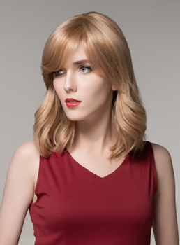 Mishair® Elegant Medium Bottom Wave Capless Human Hair Wig 16 Inches