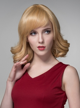 Mishair® Special Wavy Medium Human Hair Capless Wigs 14 Inches