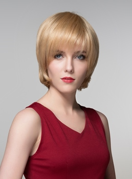 Mishair® Short Golden Straight Human Hair Capless Wig 6 Inches