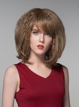 Mishair®Fluffy Medium Human Hair Capless Wigs 14 Inches
