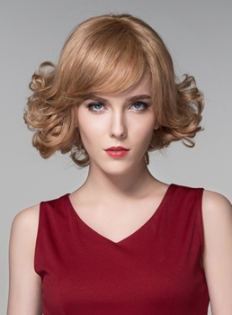 Mishair® Sweet Short Wavy Human Hair Capless Wigs 10 Inches