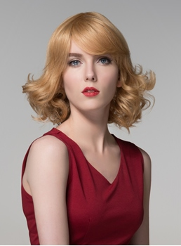 Mishair® Graceful Medium Wavy Capless Human Hair Wig 12 Inches