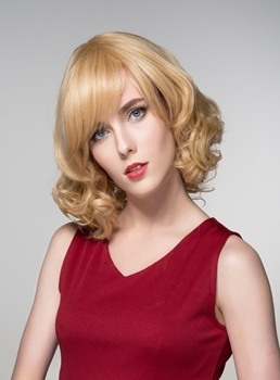 Mishair® Sweet Medium Curly Human Hair Capless Wigs 14 Inches