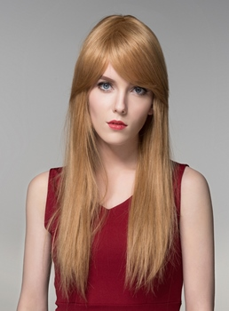Mishair® Elegant Long Wavy 100% Human Hair Wigs 24 Inches