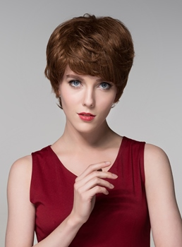 Mishair® Elegant Layered Short Straight Capless Human Hair Wig 6 Inches