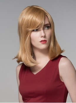Mishair® Charming Medium Straight Capless Human Hair Wig 16 Inches