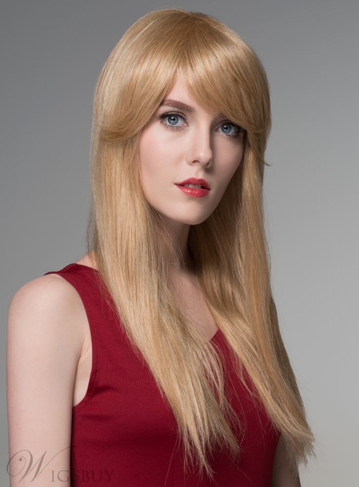 Mishair? Straight Long Human Hair Wigs Capless 24 Inches 11676604