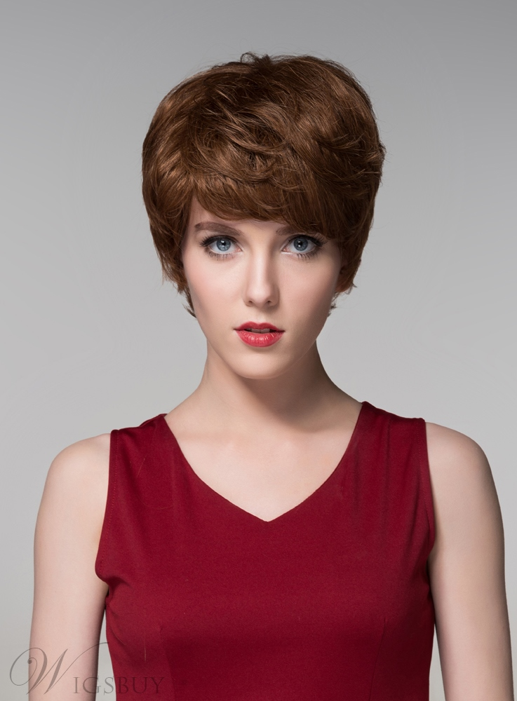 Mishair? Elegant Layered Short Straight Capless Human Hair Wig 6 Inches 11673609