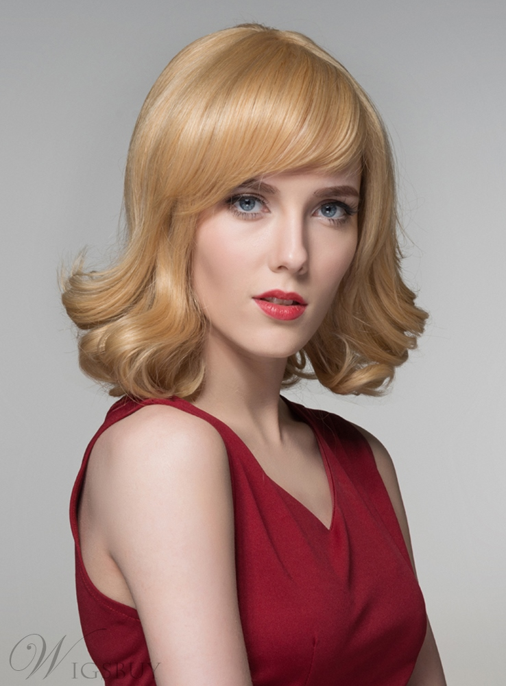 Mishair? Special Wavy Medium Human Hair Capless Wigs 14 Inches 11673293