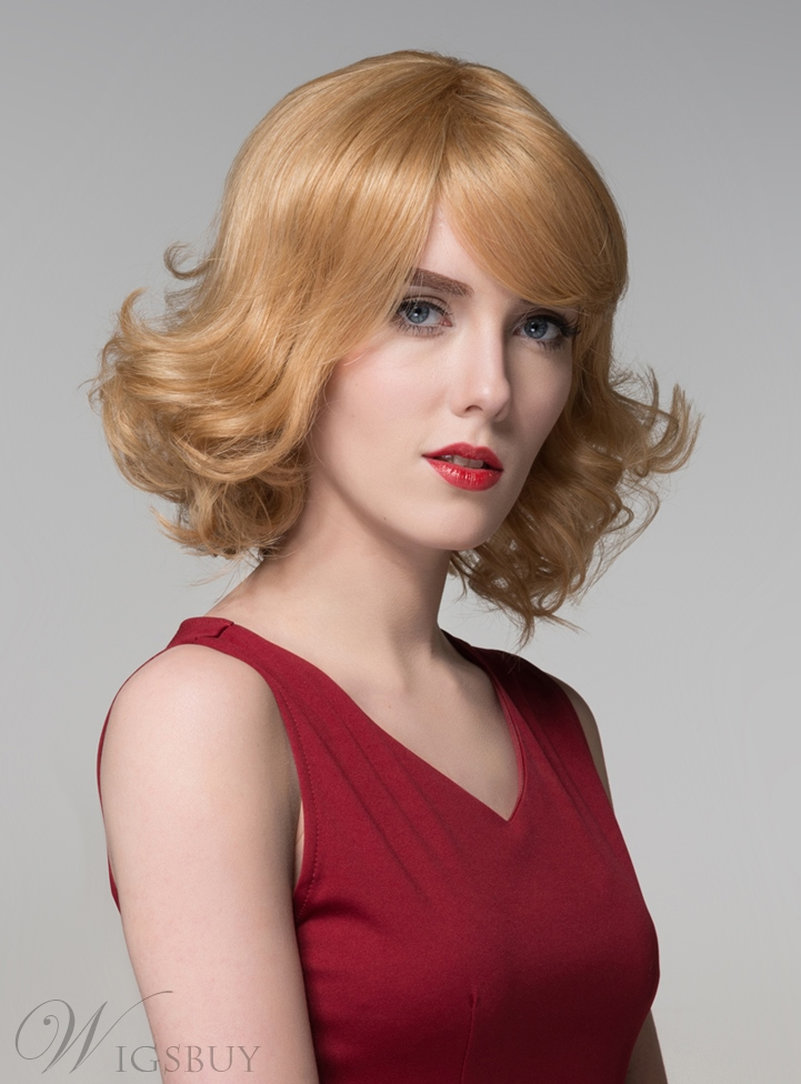 Mishair? Graceful Medium Wavy Capless Human Hair Wig 12 Inches 11675818