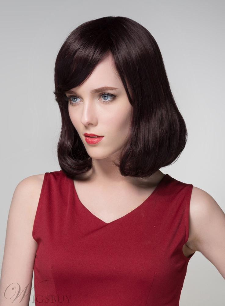 Mishair? Straight LOB Human Hair Capless Wigs 14 Inches 11675296