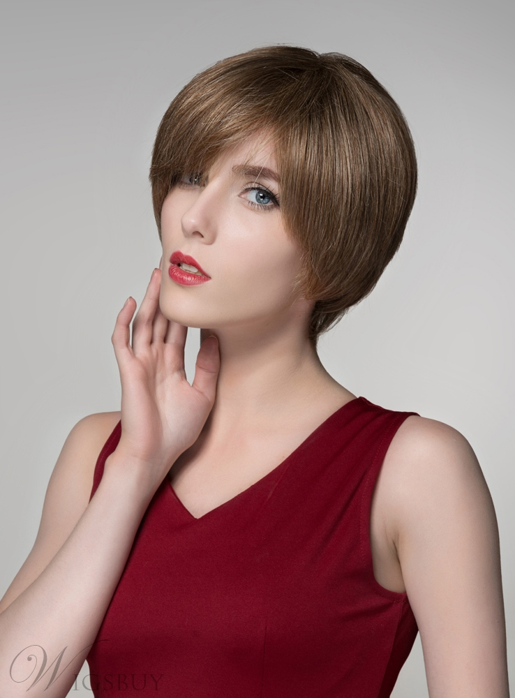 Mishair® Short Straight 100% Human Hair Capless Wigs 11676607