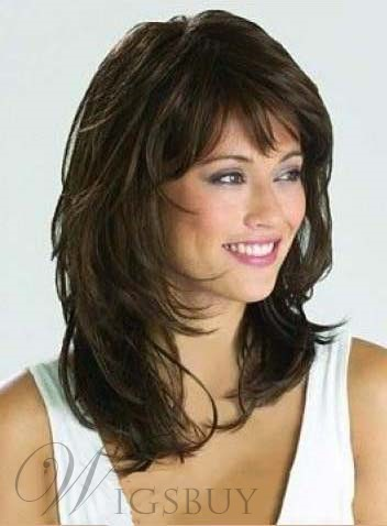 Medium Wavy Layered Cut Human Hair Capless Wigs 16 Inches
