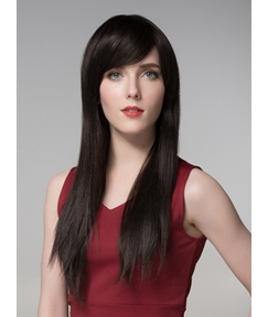 Mishair® Long Straight Natural Black Human Hair Wigs 24 Inches